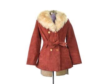 Red Suede Coat, Boho Coat, 1970s Coat, 70s Coat, Almost Famous Coat, Bohemian Coat, Shearling Coat, Vintage Coat, Womens Coat, Fur Collar
