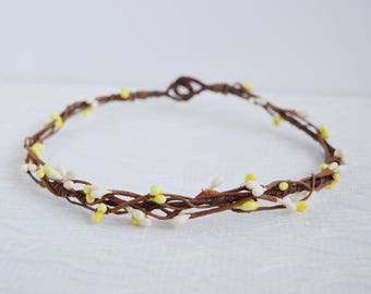 Yellow and Ivory Pip Rustic Circlet, wedding hair accessories, berry crown, woodland wedding crown, wedding headband, pip crown, - RUSTIC