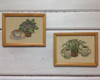 Vintage Framed Cross-Stitch Coffee and Tea Cups