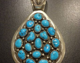 Huge Vintage NAVAJO Hand Stamped Sterling Silver & Turquoise Cluster PENDANT