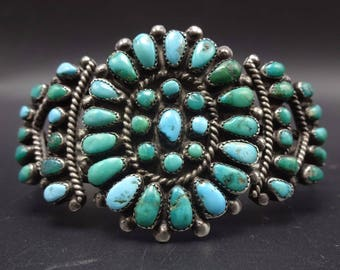 ANTIQUE 1930s to 1940s ZUNI Sterling Silver & TURQUOISE Cluster Bracelet 31g