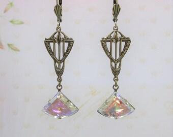 Art Deco Earrings Fan Earrings Crystal AB Art Deco Great Gatsby Jewelry Gift