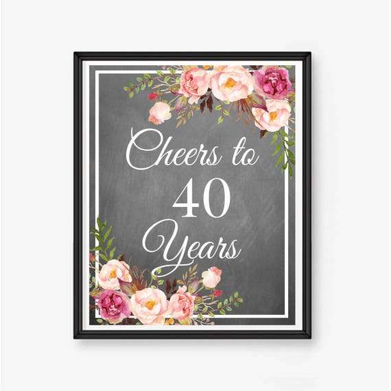 40th birthday poster cheers to 40 years 40th birthday sign