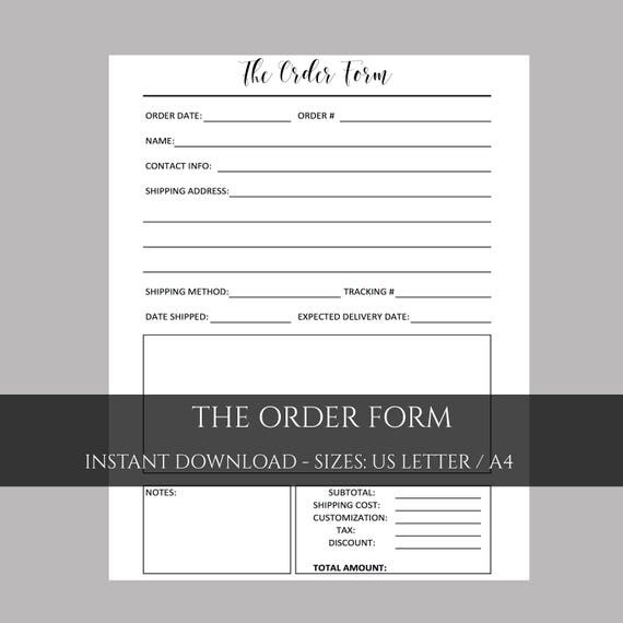 Order Form Photography Form Etsy Shop Planner Creative