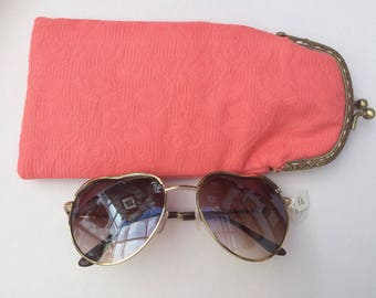 Geranium Pink Cotton Glasses Case with Gold Snap Fastening.