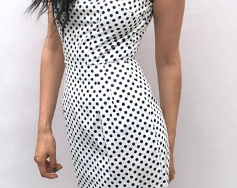 Polkadot Pencil Dress UK Size 6-8 wiggle dress in black and white hand sewn sleeveless handmade by The Emperor's Old Clothes