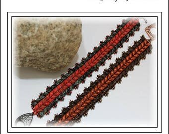 15% Off - Summer Sale - Tutorial ~ Herringbone DiamonDuo Bracelet by Reggie's Creations ~ Beaded Bracelet Pattern
