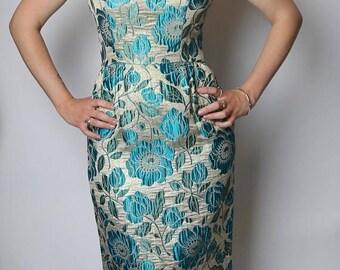 ON SALE 1960's Blue Poppy Lamé Gown