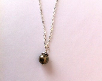 Small pyrite pendant necklace