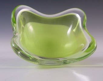 SIGNED Flygsfors Coquille Glass Bowl by Paul Kedelv '57 #3