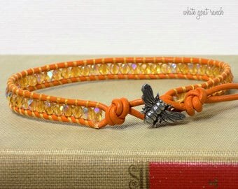 Bee Anklet, Honey Gold Glass Beads, Orange Gold Leather, Anklet, Boho, Summer Jewelry