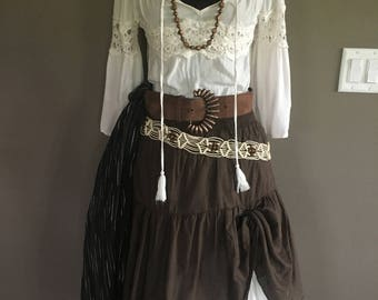 Size S/M Women's 10-Piece Pirates of the Caribbean Keira Knightley Elizabeth Swann Renaissance Fair Pirate Fest Garb Disney Cruise Costume