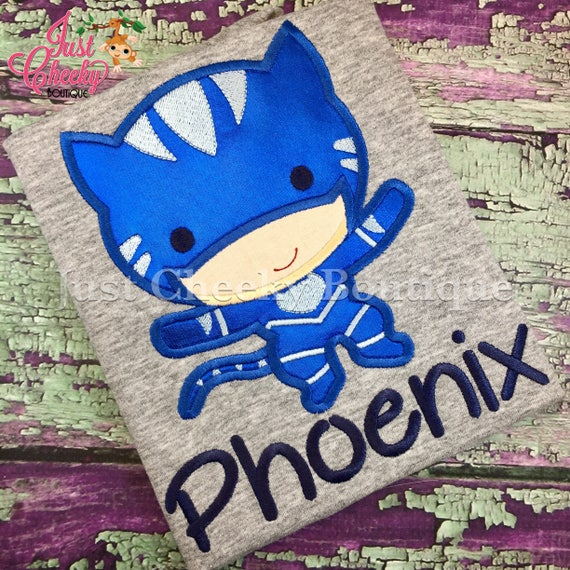 Catboy PJ Masks Inspired Embroidered Shirt - Pj Masks Birthday Shirt - Bedtime Heroes Birthday Shirt - Disney Jr - PJ Masks Party