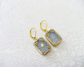 Vintage Authentic Art Deco Blue Camphor Glass Aurora Borealis Rhinestone Earrings - gold tone metal - filigree frame - lever back ear wire