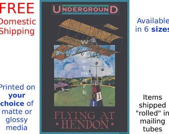Flying at Hendon - Vintage London Underground Poster (263547067)
