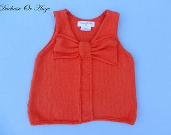 Orange top without sleeves with knit bow girl - 4t