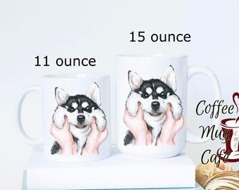 Husky coffee mug, siberian husky, dog mug, husky puppy coffee mug, latte coffee mug, sketched Siberian Husky puppy