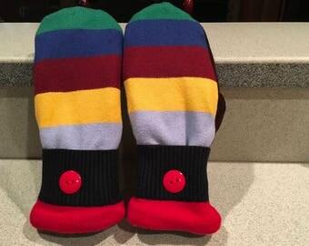 Bright striped mittens