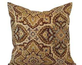 15% OFF SALE Two Damask Pillow Covers - Brown Cream Gold Blue Pillows - Neutral Pillow - Cream Pillow - Custom Pillow - 16 Inch Pillow - 18