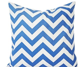 15% OFF SALE Two Blue Couch Pillows - Royal Blue and White Chevron Pillow - Decorative Throw Pillow Cover - Cobalt Accent Pillow - Throw Pil