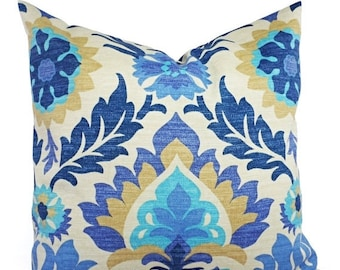 15% OFF SALE Two Outdoor Pillow Covers - Blue Navy and Tan Pillows - Patio Pillows - Couch Pillow 12x16 12x18 14x14 16x16 18x18 20x20 22x22