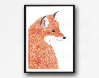 Fox Print Fox Watercolor Painting Woodland Watercolor Art Fox Watercolor Print Art Fox Illustration Fox Bedroom Wall Art Nursery Wall Decor