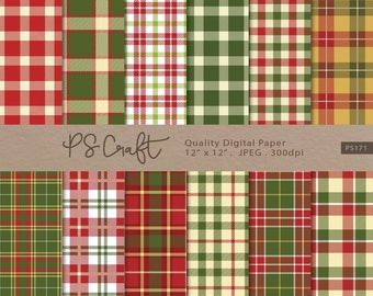 Christmas Plaid Digital Paper, SEAMLESS Plaid Digital Paper, Tartan digital paper, Christmas paper, Red and Green Scrapbook Paper