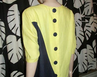Vintage Guy Laroche dress.Yellow and Navy vintage dress.
