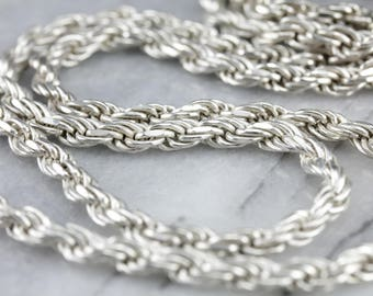 Heavy Sterling Silver Rope Chain, Long Necklace 3ZD186R1-R