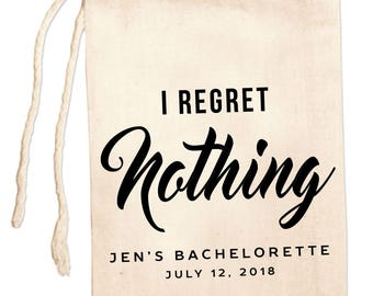 Custom Bachelorette Bags, I Regret Nothing Hangover Kit Bags, Personalized Bachelorette Favor Bags, Bachelorette Party Favors, Girls Trip