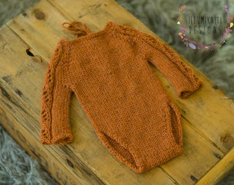 Newborn Props Lace Sleeve Romper - Rusty Orange Newborn Prop Newborn Knit Prop - Newborn Orange Romper - Long Sleeve Romper - Ready to Ship