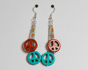 Double Dangle Peace Sign Earrings with color options