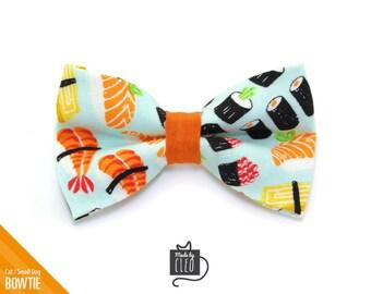 "Sushi Cat Bow Tie - ""Sushi Date"" - Sushi Cat Collar Bow Tie / Sushi Kitten Bow Tie / Small Dog Bow Tie - Removable (One Size)"