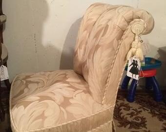 Custom brocade vintage boudoir chair