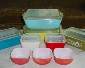 15pc Used Vintage Pyrex Covered Refrigerator Dish Set Lot ~ Many Sizes & Shapes