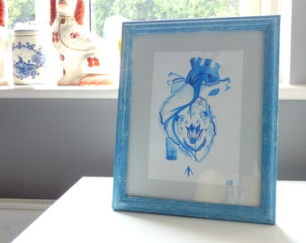 Delft Heart Painting, Framed