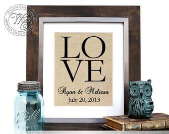 Personalized Burlap Wall Art, Burlap Monogram, Burlap Sign, Burlap Established Date, Family Sign