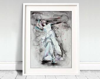 Ballerina watercolor art print. Wall art, wall decor, digital print. That's live. Ballerina dancing with sword.