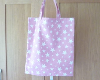 Fabric shopping Bag/ Pink Stars