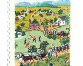 10 Vintage Grandma Moses Stamps // Folk Art Scene // Country Village Painting // Vintage Green Stamps for Mailing