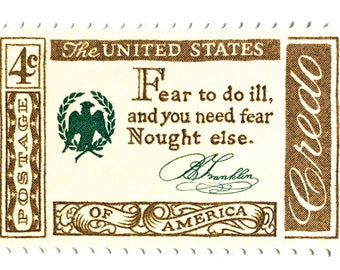 10 Vintage Gold and White Postage Stamps // Benjamin Franklin Quote // American Credo // 1960 Vintage 4 Cent Postage Stamps for Mailing