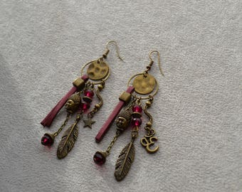"""Simah"" leather, Czech glass earrings"