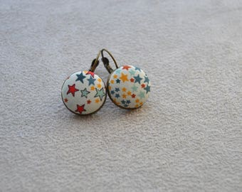 """collection """"textiles"""" your multicolor, button earrings on sleepers brass Liberty fabric"""