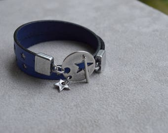 blue leather with inlaid star bracelet, Silver Star toogle clasp