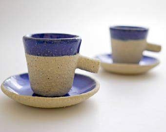 Set of 2 Blue Espresso Cups,Handmade Ceramic Espresso Cup,Greek Coffee Mug,Small Cup,Handmade Cup,Coffee lovers,Tiny Cups,Stoneware cup