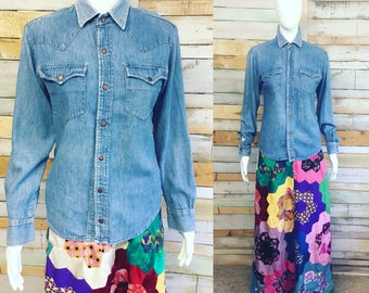 Levis Strauss vintage 70's denim Shirt, 'distressed' for you, by my dad in the 70's! S