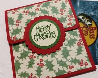Gift Card Holder, Holly Berry Money Envelope, Paper Merry Christmas Card, Money Envelope, Secret Santa Gift, Optional Envelope, Co Worker