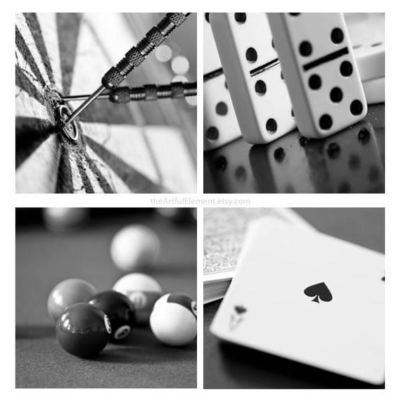 Game room art, Poker art, Set of 4 prints, Billiard decor, Black and white pictures, Wall picture series, pool // Game room photo set large