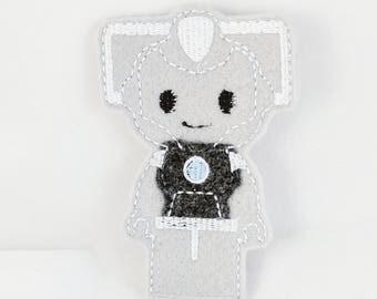 Cyberman finger puppet - Doctor Who Inspired Finger Puppets - Christmas gift - Stocking Stuffer - Embroidered Felt Finger Puppet