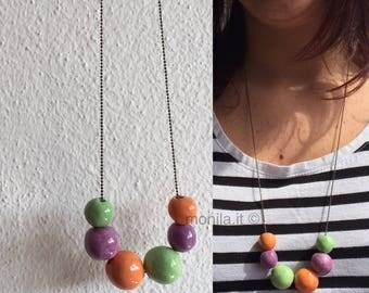Medium long necklace with ceramic beads